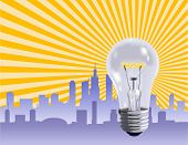 Ideas that make the business world work represented by a light bulb - VECTOR