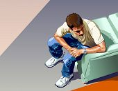 Young man with jeans and tennis shoes sitting waiting. View from above - VECTOR