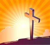 Cross on top of a mountain and sunrise in the background - VECTOR