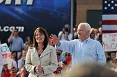 O'FALLON - AUGUST 31: Senator McCain and Saran Palin make their appearance at a rally in O'Fallon ne
