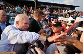 O'FALLON - AUGUST 31: Senator McCain shakes hands with supporters at rally in O'Fallon near St. Loui