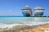 Cruise ships docked in Caicos Island, British West Indies