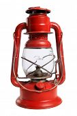 Vintage red railroad lantern isolated over white background