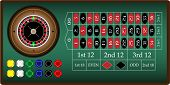 image of roulette table  - vector illustrated roulette - JPG