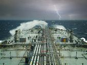 vlcc or oil tanker ship on open rough sea