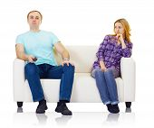 stock photo of televisor  - Husband and wife do not find mutual understanding isolated on white - JPG