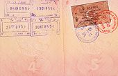 Entry stamps & visa in passport page
