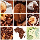 Colagem feita com grãos de café, copos e outros