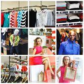 Collage mit shopping verwandte Bilder hergestellt. keine Markennamen oder copyright-Objekte.