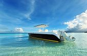 Beautiful beach with motor boat at Boracay island, Philippines
