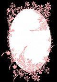 illustration with floral frame decoration on black background