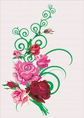 stock photo of pink rose  - illustration with pink roses on light background - JPG