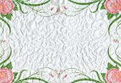 Crumpled Paper Texture Background With Roses Decoration