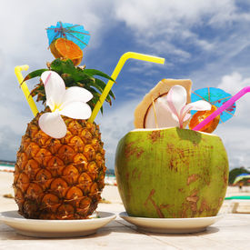 picture of beach party  - Tropical cocktails on the beach - JPG