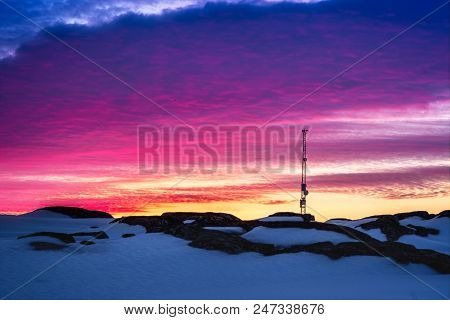 Greenlandic Sunset Sky With Antenna