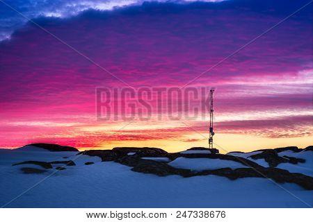 Greenlandic Sunset Sky With Antenna