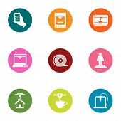 Print Material Icons Set. Flat Set Of 9 Print Material Vector Icons For Web Isolated On White Backgr poster