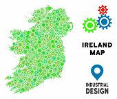 Gear Ireland Countries Map Collage Of Small Wheels. Abstract Territorial Scheme In Green Color Hues. poster