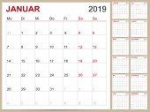 German Planning Calendar 2019, Calendar Template For Year 2019, Set Of 12 Months, Week Starts On Mon poster