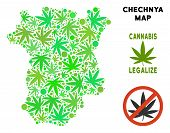 Royalty Free Marijuana Chechnya Map Collage Of Weed Leaves. Template For Narcotic Addiction Campaign poster
