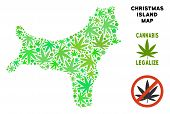 Royalty Free Cannabis Christmas Island Map Collage Of Weed Leaves. Concept For Narcotic Addiction Ca poster