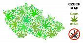 Royalty Free Cannabis Czech Map Mosaic Of Weed Leaves. Concept For Narcotic Addiction Campaign Again poster