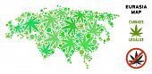 Royalty Free Cannabis Eurasia Map Mosaic Of Weed Leaves. Template For Narcotic Addiction Campaign Ag poster