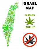 Royalty Free Cannabis Israel Map Mosaic Of Weed Leaves. Template For Narcotic Addiction Campaign Aga poster
