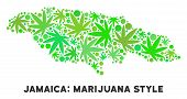 Royalty Free Cannabis Jamaica Map Composition Of Weed Leaves. Template For Narcotic Addiction Campai poster