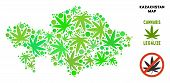 Royalty Free Cannabis Kazakhstan Map Mosaic Of Weed Leaves. Concept For Narcotic Addiction Campaign  poster