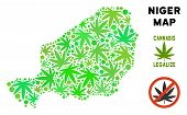Royalty Free Marijuana Niger Map Composition Of Weed Leaves. Template For Narcotic Addiction Campaig poster