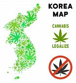 Royalty Free Cannabis North And South Korea Map Collage Of Weed Leaves. Template For Narcotic Addict poster