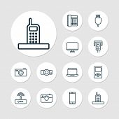 Hardware Icons Set With Smartphone, Modem, Media Device And Other Player Elements. Isolated  Illustr poster