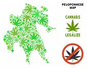 Royalty Free Cannabis Peloponnese Peninsula Map Composition Of Weed Leaves. Concept For Narcotic Add poster