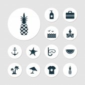 Sun Icons Set With Swimming Mask, Starfish, Sea And Other Ananas Elements. Isolated  Illustration Su poster