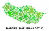 Royalty Free Cannabis Portugal Madeira Island Map Mosaic Of Weed Leaves. Concept For Narcotic Addict poster