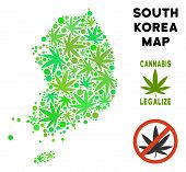 Royalty Free Cannabis South Korea Map Mosaic Of Weed Leaves. Template For Narcotic Addiction Campaig poster