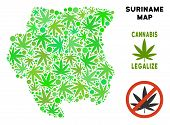 Royalty Free Marijuana Suriname Map Collage Of Weed Leaves. Template For Narcotic Addiction Campaign poster
