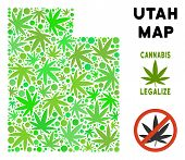 Royalty Free Cannabis Utah State Map Collage Of Weed Leaves. Template For Narcotic Addiction Campaig poster