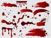 Vector Illustration Set Of Blood Spots, Smears, Spilled Red Paint, Paint Splatters. Halloween Concep poster