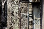 Ancient Stone Ruin Of Banteay Kdei Temple, Angkor Wat, Cambodia. Ancient Temple Floral Bas-relief. A poster