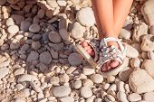 Kids Summer Sandals. Baby Shoes Isolated On White. Girl White Fashion Footwear, Leather Sandal , Moc poster
