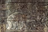 Ancient Stone Bas-relief In Bayon Temple. Cambodia Tourist Photo. Ancient Temple Detail. Angkor Wat  poster