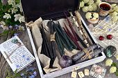 Witch Box With Hand Made Candles, Crystal, Runes, Flowers And Magic Objects. Occult, Esoteric And Di poster