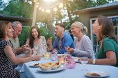 Friends enjoying summer barbecue dinner in garden poster