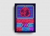 Boxing Poster Neon Vector. Boxing Night Design Template, Bright Neon Brochure, Modern Trend Design,  poster