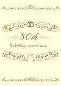 50th Wedding Anniversary.invitation Anniversary Card.beautiful Editable Vector Illustration  Eps 8 G poster