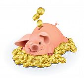 image of save money  - Funny piggy bank surrounded by gold coins - JPG