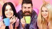 Man And Women, Friends On Smiling Faces Lay, Pink Background. Lovers In Love Drink Coffee In Bed. Ma poster