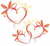 stock photo of valentines day card  - Hearts bows - JPG
